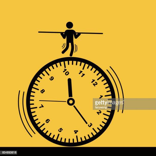 businessman run against the time - overworked stock illustrations