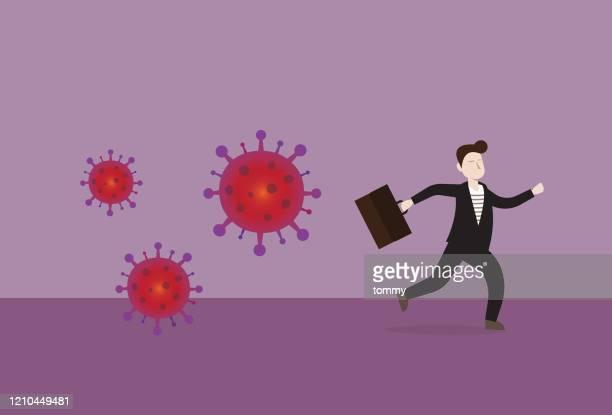 ビジネスマンはウイルスから逃げる - 抗アレルギー薬点のイラスト素材/クリップアート素材/マンガ素材/アイコン素材