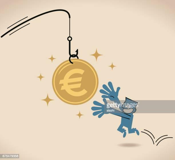 Unternehmer, die nach dem Euro-Zeichen Köder an Angel Münze