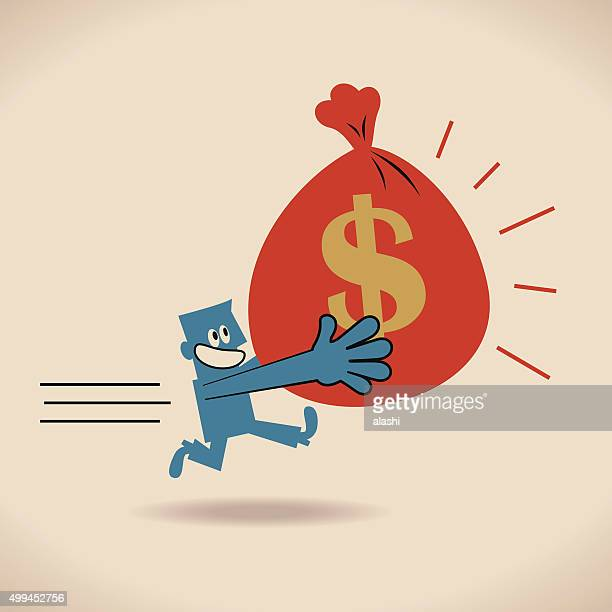 Businessman Running And Carrying Bag Of Money With Dollar Sign