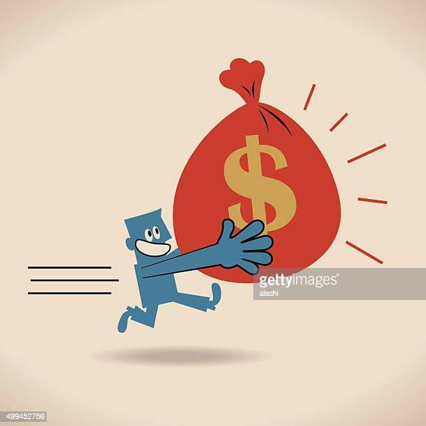 ビジネスマンが、お金を運ぶバッグのドル記号