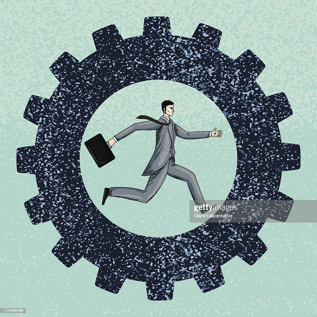 Businessman Running In A Gear : stock illustration