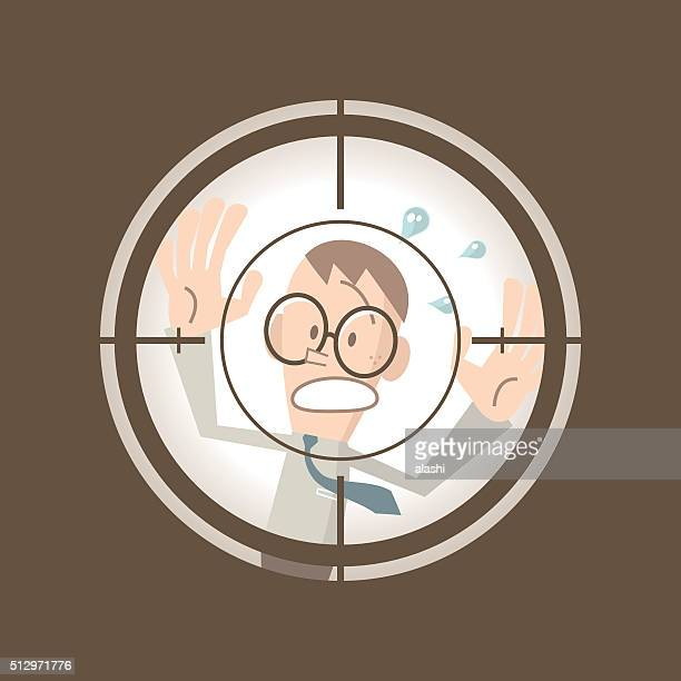 businessman running in the crosshairs center rifle (gun) sight (escape) - murderer stock illustrations, clip art, cartoons, & icons
