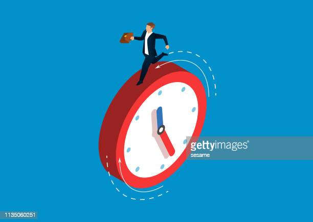 businessman running on the clock - tired stock illustrations