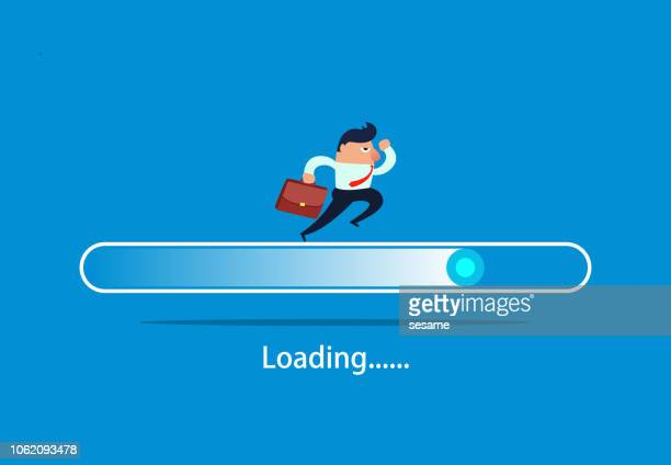 businessman running on the progress bar - loading stock illustrations