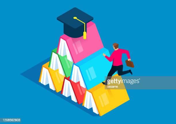 本の上に卒業キャップに向かって走るビジネスマン - 書店点のイラスト素材/クリップアート素材/マンガ素材/アイコン素材