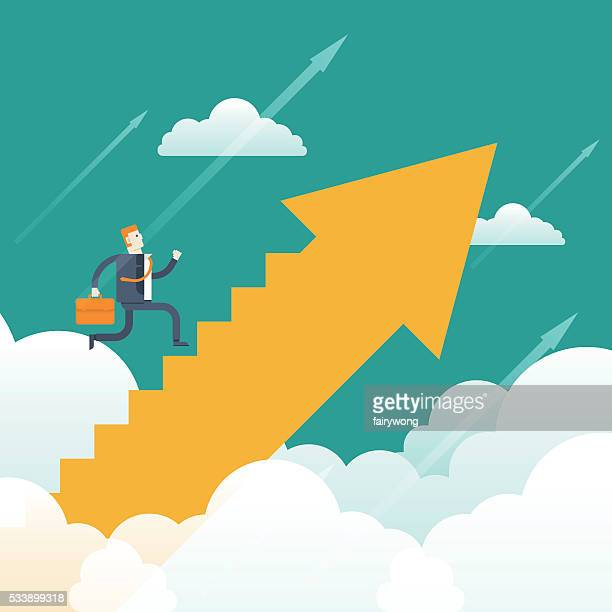 businessman running up the stairs - assertiveness stock illustrations, clip art, cartoons, & icons