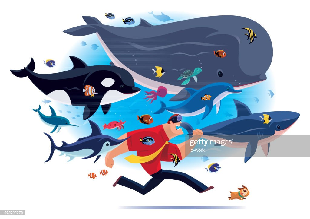 businessman running with sea creatures via VR goggles : stock illustration