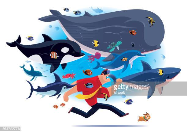 businessman running with sea creatures via vr goggles - killer whale stock illustrations, clip art, cartoons, & icons