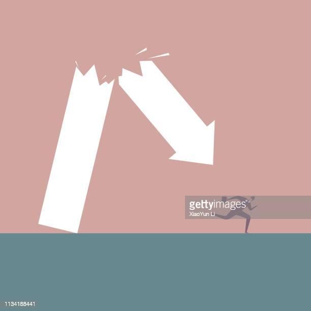 businessman runs away under broken arrow symbol. - bankruptcy stock illustrations