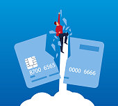 Businessman rushed to the sky and smashed credit card