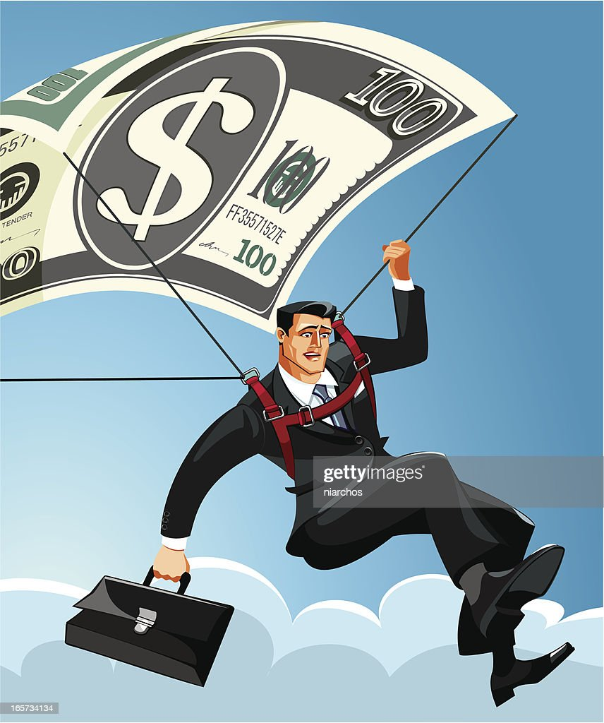 Businessman saved by a parachute : stock illustration