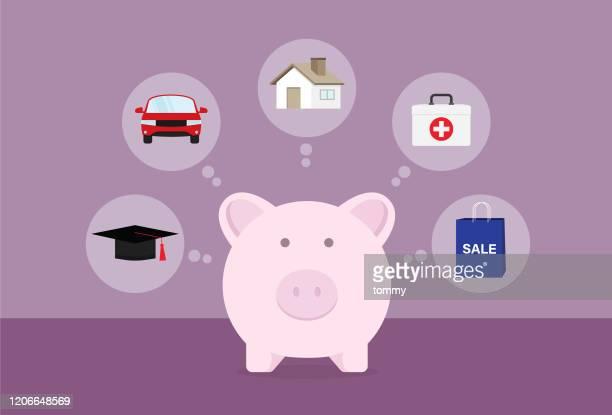 illustrazioni stock, clip art, cartoni animati e icone di tendenza di uomo d'affari che risparmia denaro per l'istruzione, l'auto, la casa, la salute e lo shopping - piano finanziario