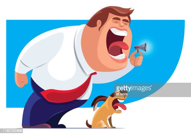 businessman screaming with dog - mouth open stock illustrations