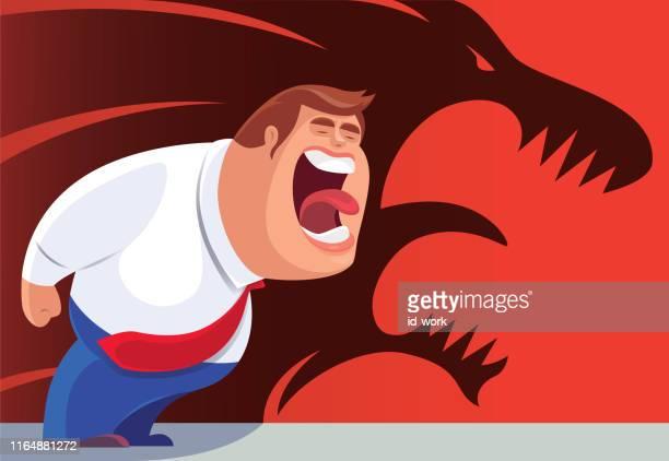 轟音ライオンの影で叫ぶビジネスマン - 激怒点のイラスト素材/クリップアート素材/マンガ素材/アイコン素材
