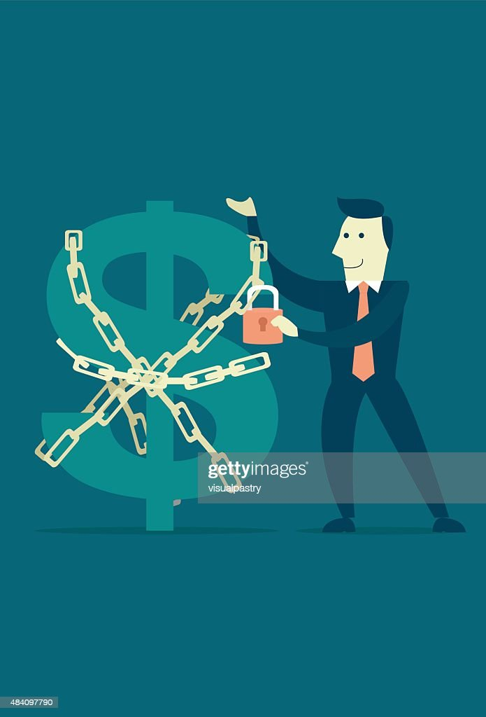 Businessman securing money with chain and padlock safe and secure