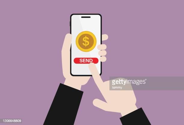 ビジネスマンは、携帯電話で米国の通貨を送信します - send点のイラスト素材/クリップアート素材/マンガ素材/アイコン素材