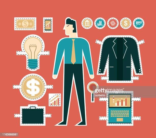 ビジネスマンセット - 紙人形点のイラスト素材/クリップアート素材/マンガ素材/アイコン素材