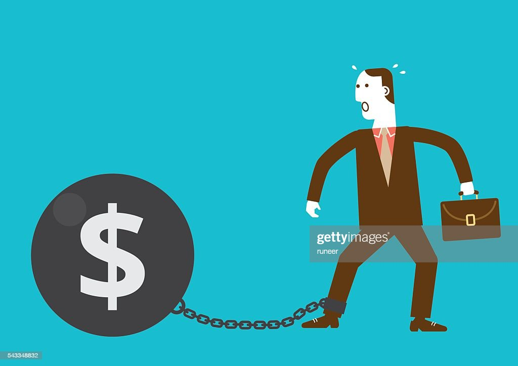 Businessman Shackled by Iron Ball with Dollar Sign