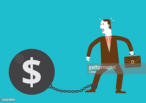 ilustraciones, imágenes clip art, dibujos animados e iconos de stock de hombre de negocios grilletes de bola de hierro con símbolo del dólar - bola de hierro y cadena