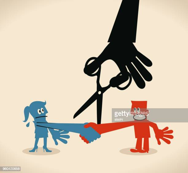 Businessman shaking hand with businesswoman, big black hand cutting the connection by scissors (breaking the trust)