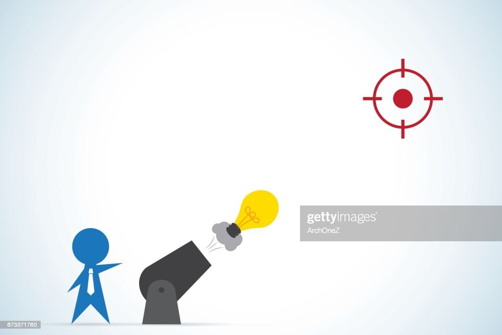businessman shoot light bulb from cannon, idea and business concept