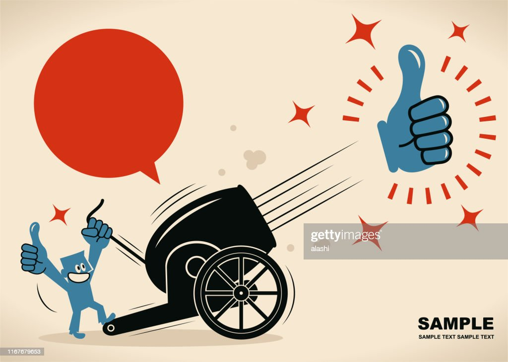 Businessman shooting big Thumbs Up sign from cannon (cannon firing) : stock illustration