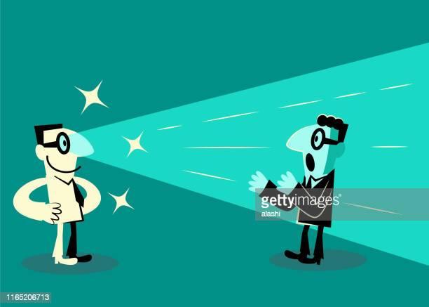 ビジネスマンは、人に目からレーザービームを撮影(顧客、市場、競合他社の行動に関する洞察) - ゴールを狙う点のイラスト素材/クリップアート素材/マンガ素材/アイコン素材