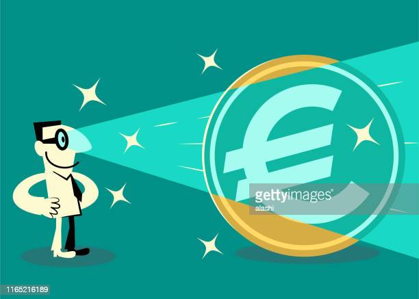 businessman shooting laser beams from his eyes at an euro sign currency - monetary policy stock illustrations