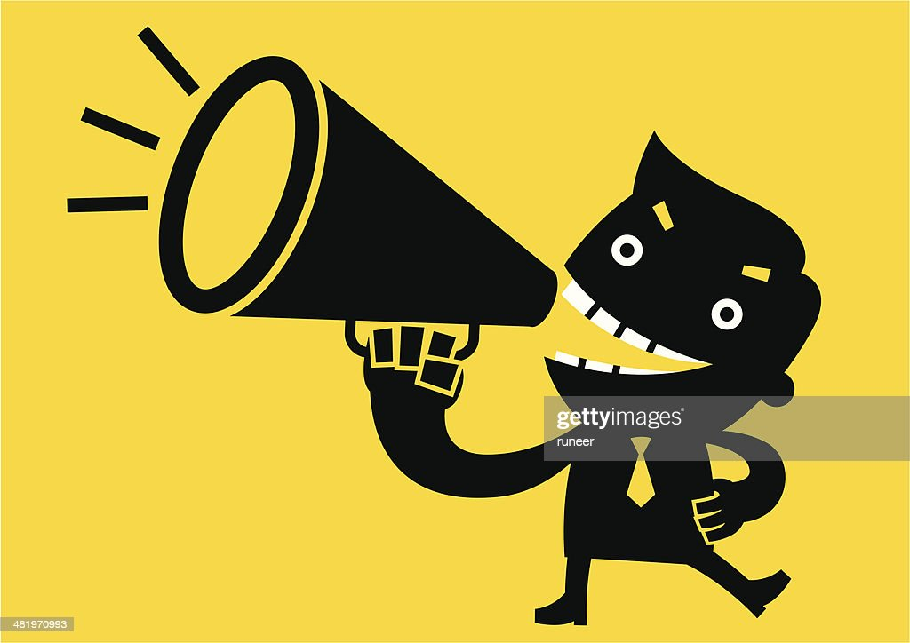 Businessman shouting with Megaphone | Yellow Business Concept