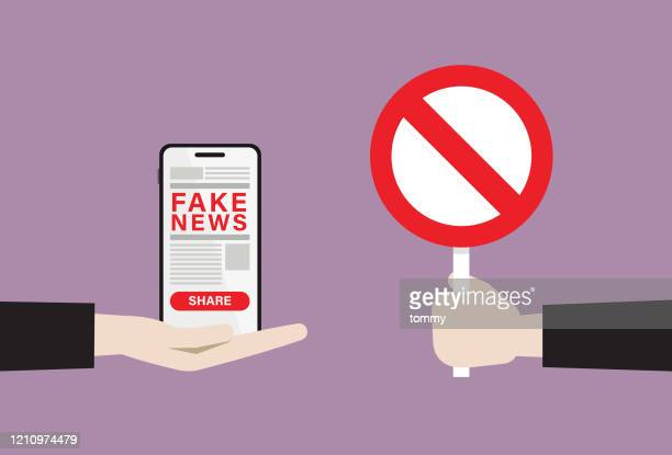 ilustraciones, imágenes clip art, dibujos animados e iconos de stock de empresario muestra signo de prohibición a noticias falsas - fake news