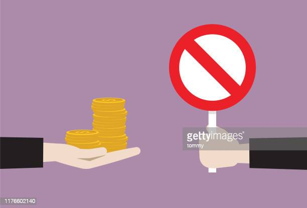 businessman show prohibition sign to money - bribing stock illustrations