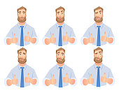 Businessman show thumb up. Vector set. Business man characters