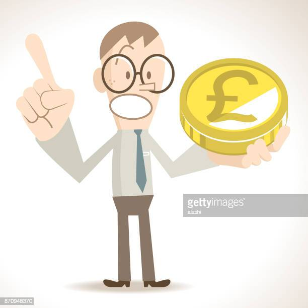 Businessman showing a gold British Pound sign coin (money) and giving a presentation, pointing at upward by index finger, upvaluation concept