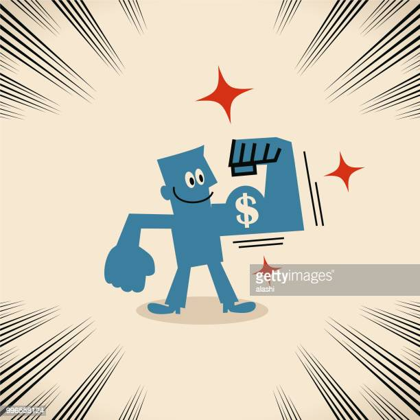businessman showing his big biceps with dollar sign currency - bicep stock illustrations, clip art, cartoons, & icons