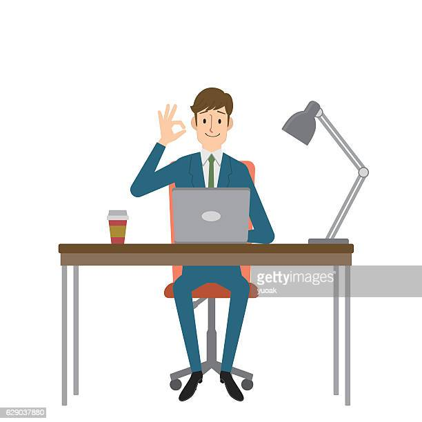 businessman showing ok sign - office chair stock illustrations, clip art, cartoons, & icons