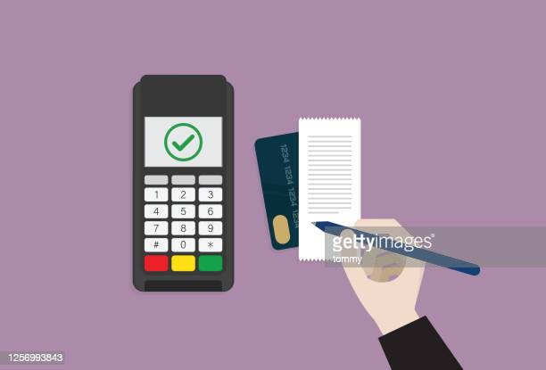 クレジットカードの伝票に署名するビジネスマン - レシピ帳点のイラスト素材/クリップアート素材/マンガ素材/アイコン素材