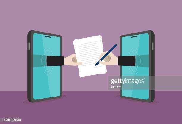 ビジネスマンは、ワイヤレス技術によって契約文書に署名します - セールスマン点のイラスト素材/クリップアート素材/マンガ素材/アイコン素材