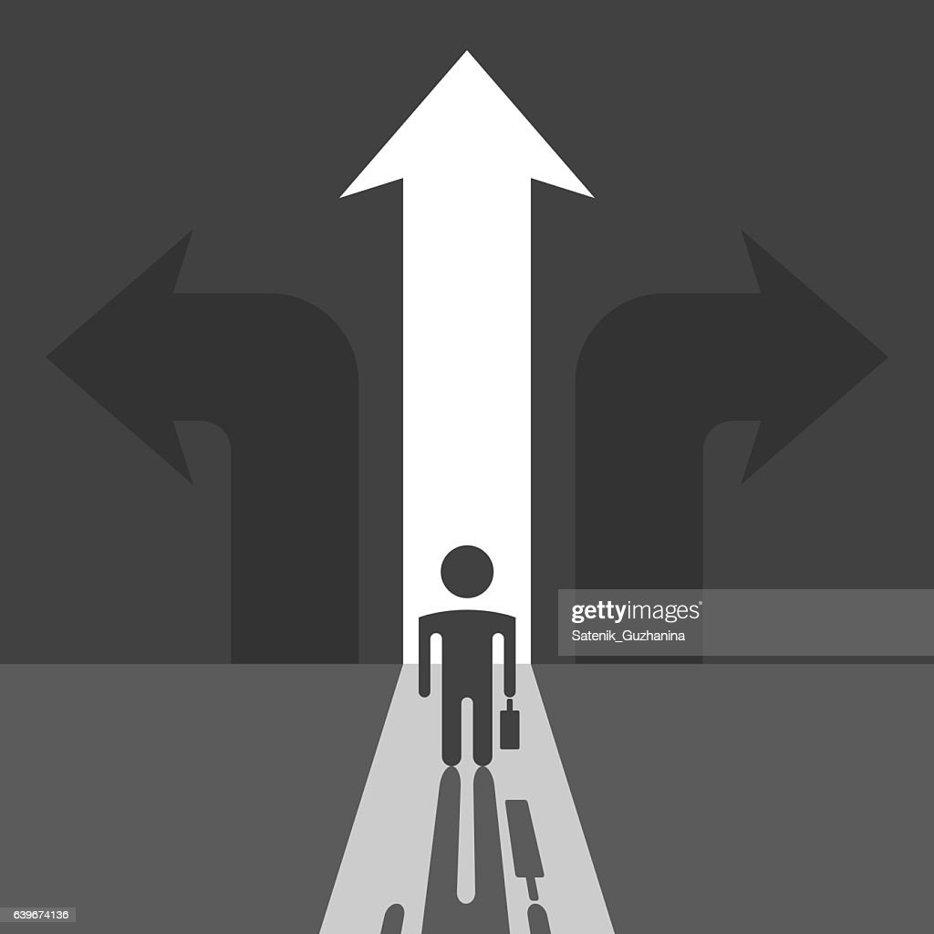 Businessman silhouette and arrows