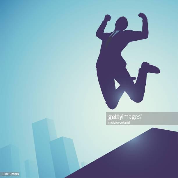 Geschäftsmann Silhouette Abbildung Konzept auf blauem Hintergrund