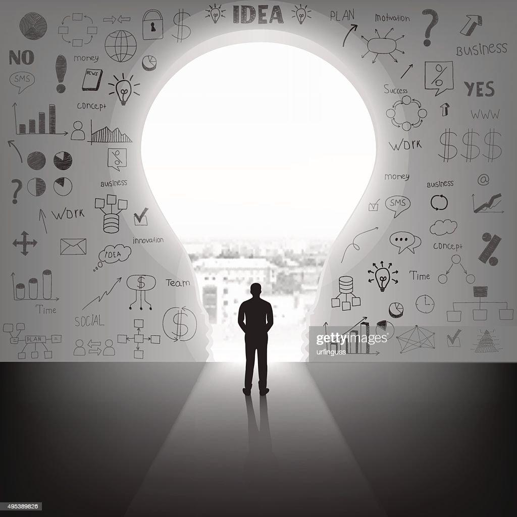 Businessman silhouette standing front of big idea lightbulb door.