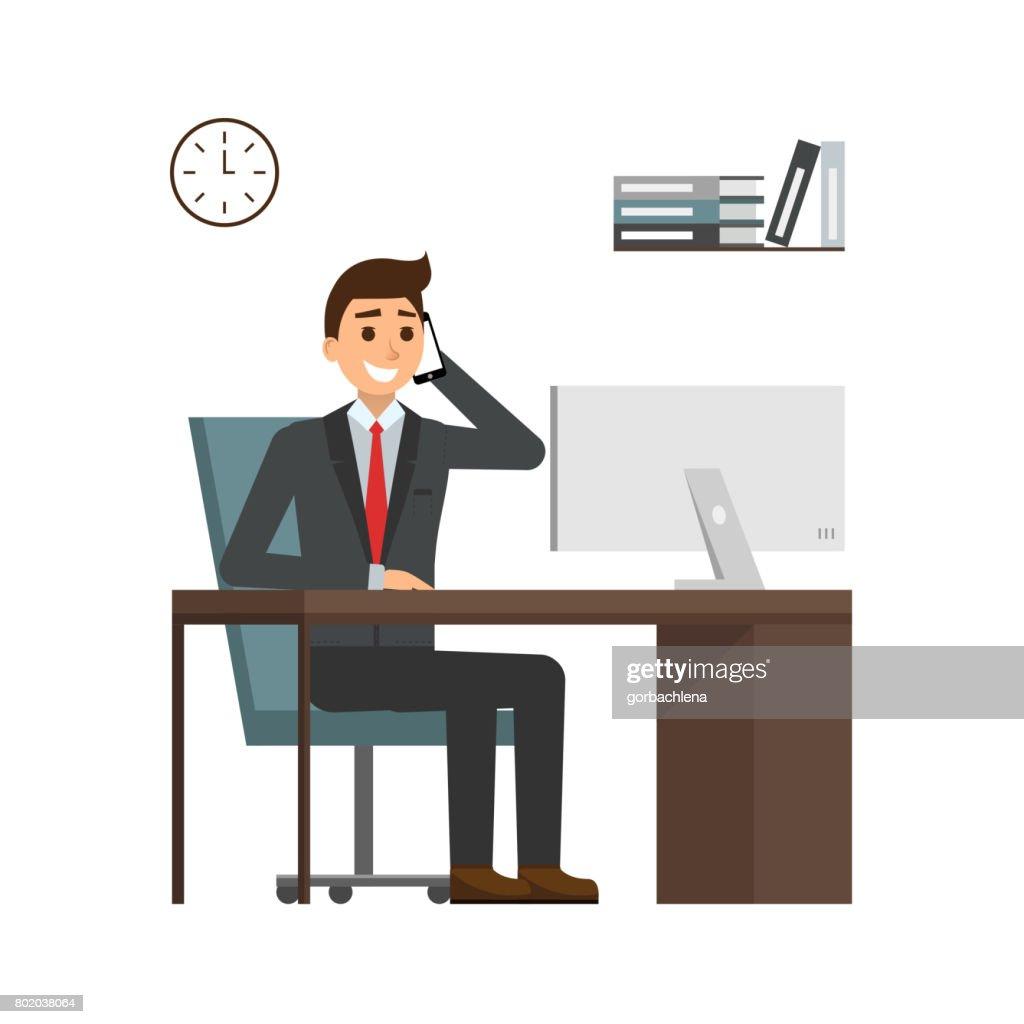 gesch ftsmann sitzen am schreibtisch in hellen b ro telefonieren mit handy und l chelnd. Black Bedroom Furniture Sets. Home Design Ideas