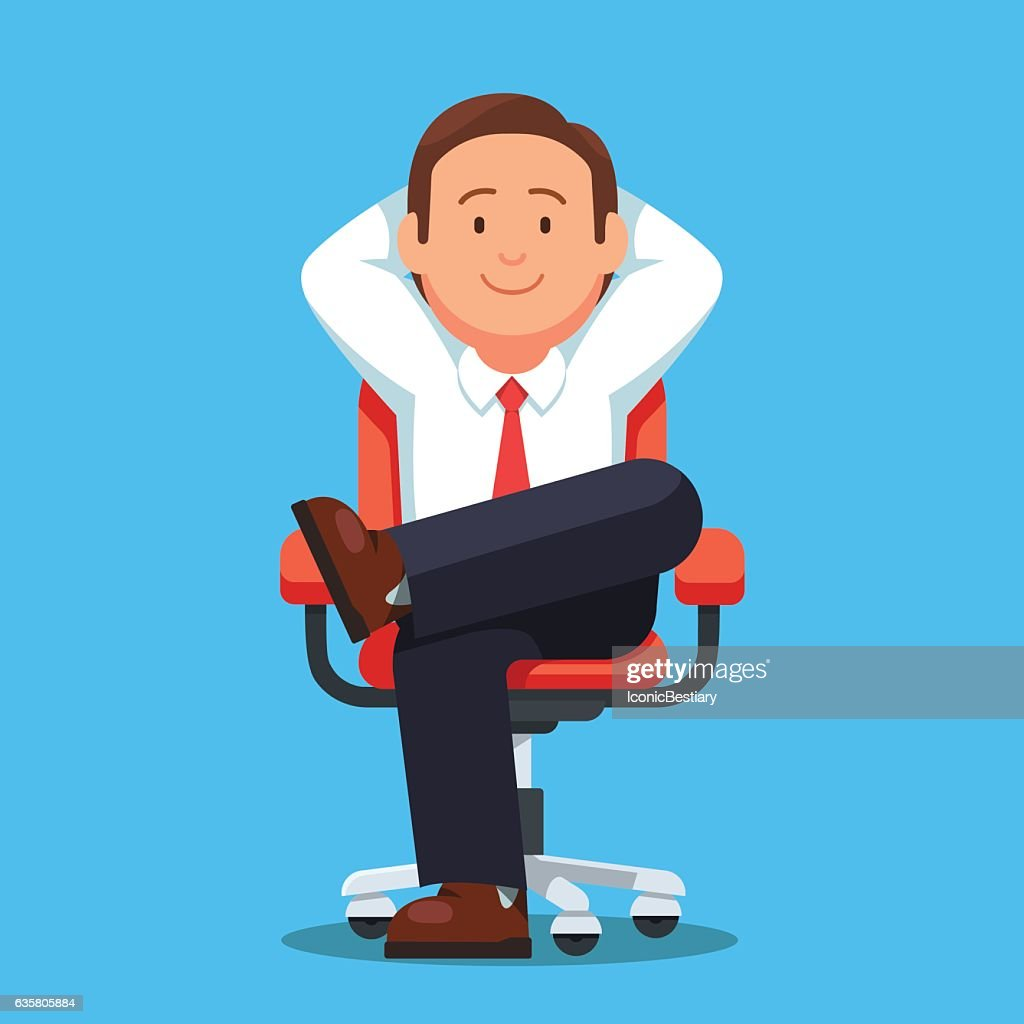 Businessman sitting calmly legs crossed