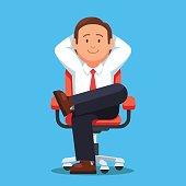Businessman sitting calmly legs crossed