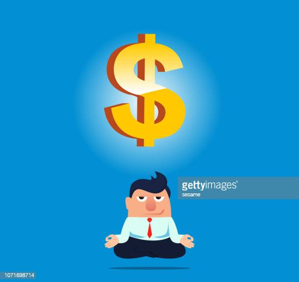 businessman sitting cross-legged thinking about money - cash flow stock illustrations, clip art, cartoons, & icons