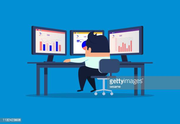 businessman sitting in front of computer screen analyzing and monitoring data - business finance and industry stock illustrations