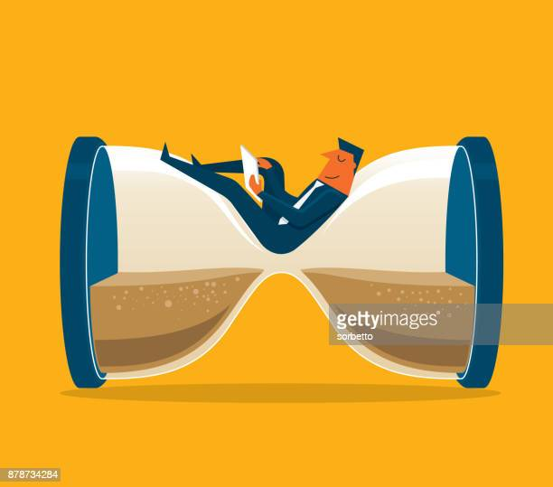 illustrazioni stock, clip art, cartoni animati e icone di tendenza di businessman sitting on the hourglass - fare una pausa