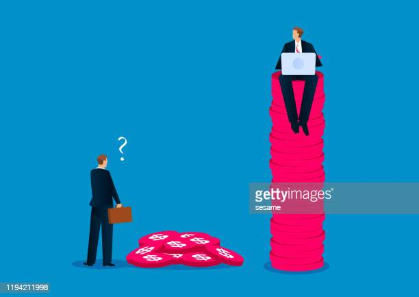 businessman sitting on top of stacked gold coins - tall high stock illustrations