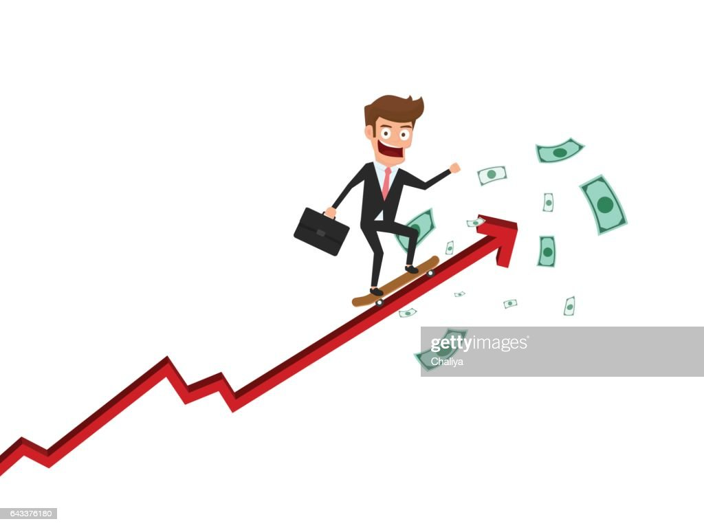 Businessman skateboard on growth arrow graph get a lot of money. Investment financial and success concept.