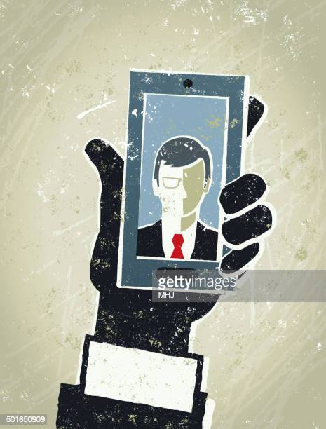 businessman, smart phone and man. mobile communication - video conference stock illustrations